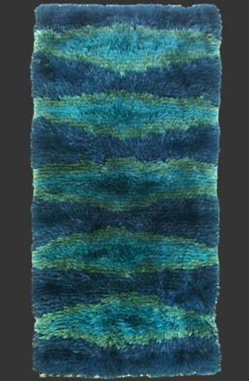modernist RYA rug, anonymous, hand-made in SWEDEN, 1960/70, ca. 5' x 2' 6''