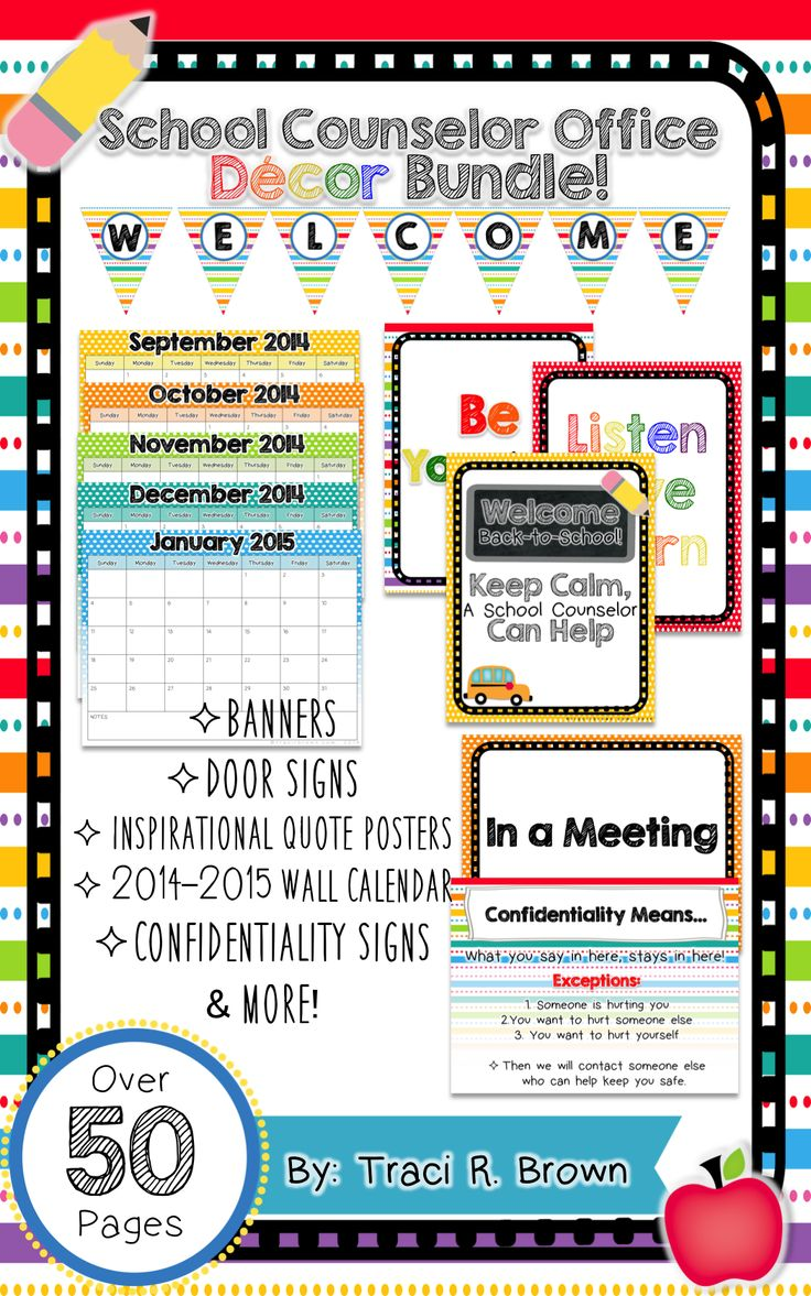Rainbow Themed School Counselor Office Decor Bundle! Enjoy over 50 pages of office decor. This will brighten up any school counselor office. This is especially perfect for elementary (k-5) locations! www.tracirbrown.com
