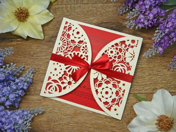 zaproszenia weselne  z kolekcji Koronka z Kwiatów wzór 11
