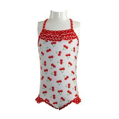 Frill Cherry Print Swimsuit - By Rachel Riley