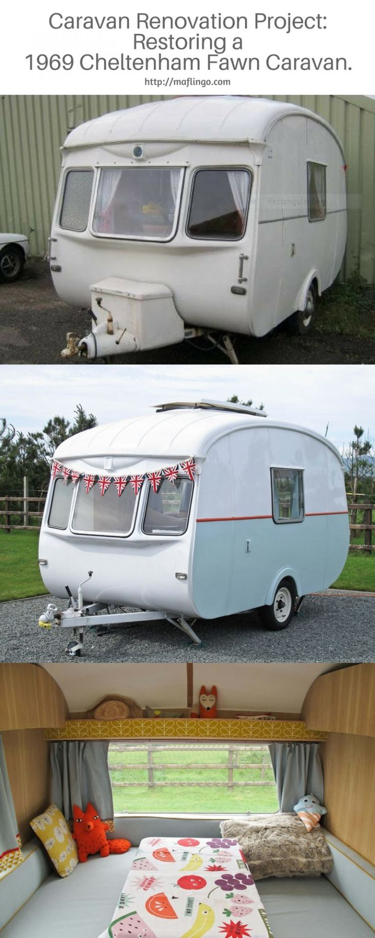 Renovation Project. Beautiful revamp of a 1969 Cheltenham Fawn Camper Caravan. This isn't just restoring to its former glory. It has exceeded it with handmade piped cushion covers, cushions and curtains and hand built oak interior. It is a thing of beauty