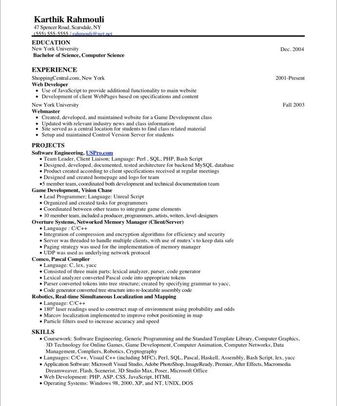 20 best IT Resume Samples images on Pinterest Free resume - video game programmer sample resume