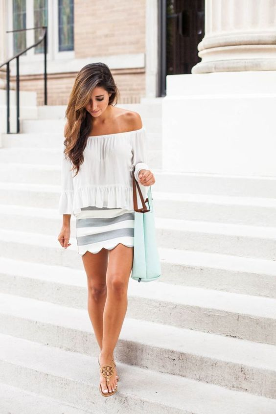 @roressclothes closet ideas #women fashion outfit #clothing style apparel Off-shoulder Top and Scalloped Skirt via
