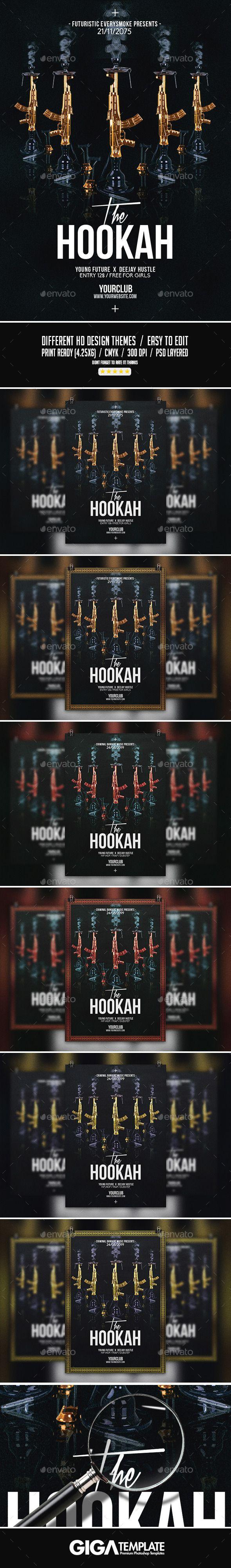 The Hookah | Dark Modern Party PSD Flyer Template