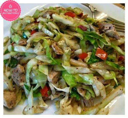 Ingredients : 2 tablespoons extra light olive oil 1 scallion/green onion – chopped lengthwise 2 cloves garlic – peeled and chopped A pinch of red pepper flakes 1/2 medium cabbage (about 5 cups chopped) 5 mushrooms (about 1 cup, sliced)-optional A small red or green pepper, sliced-optional 1/4 teaspoon sea salt 2-3 teaspoons low sodium soy sauce 1 teaspoon white cooking wine 1 teaspoon garlic powder 1/2 teaspoon smoked paprika A sprinkle of ground pepper 2 boneless chicken ...