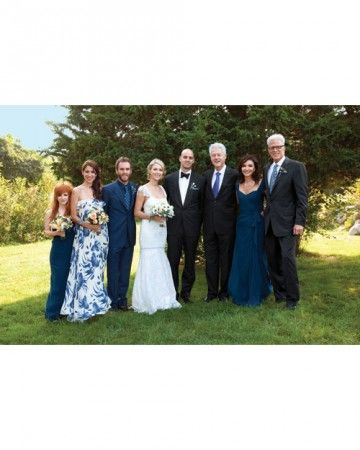 The couple with (from left) Lilly's stepsisters Katrina and Kate Danson; brother Charlie McDowell; former president Bill Clinton, a family friend; Mary Steenburgen; and Ted Danson.