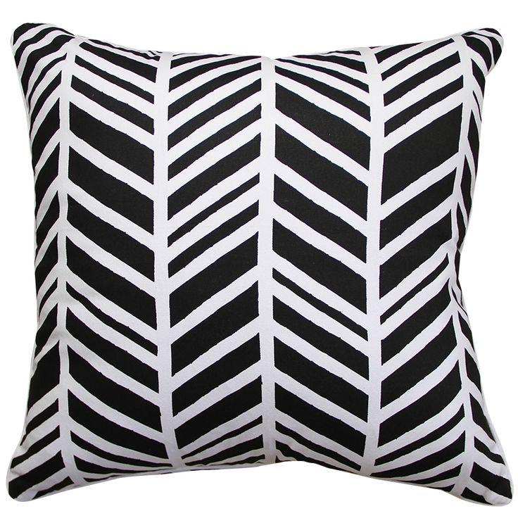 Geo chevron cushion cover in black
