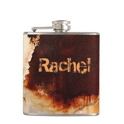 Personalizable Rust Art Cool Fun Unique Flask - red gifts color style cyo diy personalize unique