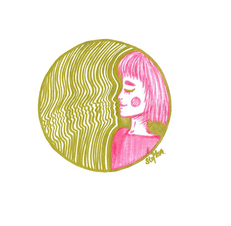 IG: @maggie_creates_  pink and gold marker drawing illustration