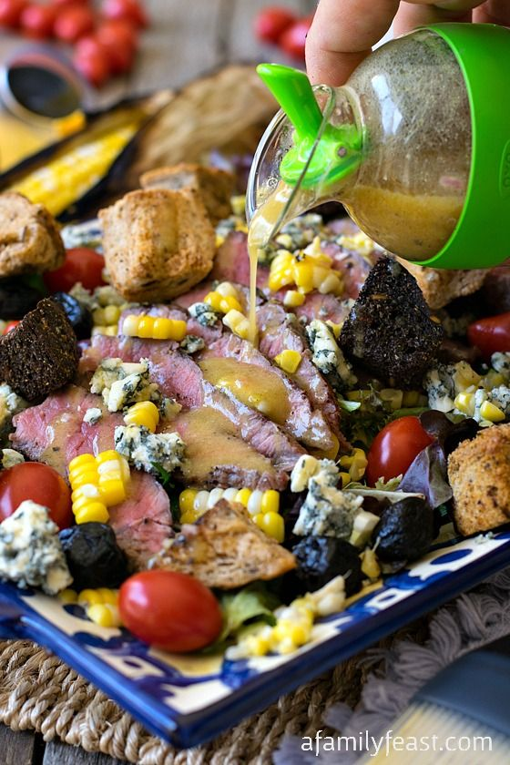 Grilled Steak and Corn Salad - A simple and delicious summertime meal!
