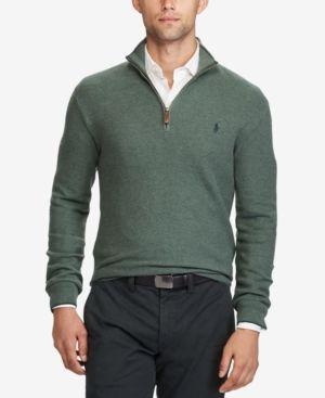 Polo Ralph Lauren Men's Half-Zip Sweater - Moss Green Heather XXL