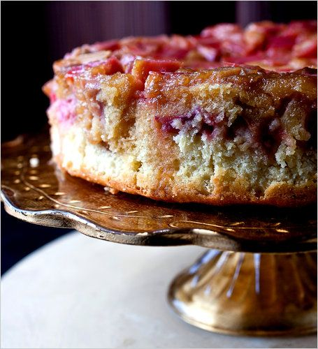 Rhubarb upside down cake. Photo: Andrew Scrivani for The New York Times