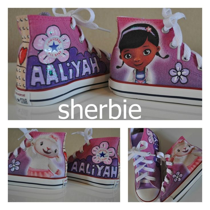 Sherbie.co.uk - Doc Mcstuffins Converse shoes, kids shoes £50.00 (http://www.sherbie.co.uk/doc-mcstuffins-converse/ doc mcstuffins shoes, lambie shoes, custom kicks, girls shoes, party shoes, personalized gift