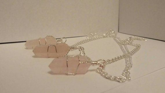 Check out this item in my Etsy shop https://www.etsy.com/ca/listing/505529117/wire-wrapped-rose-quartz-point-on-18