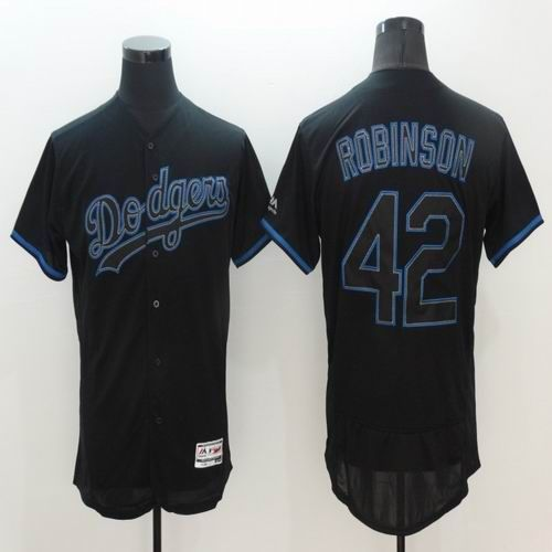 MLB New Los Angeles Dodgers Jersey Mens 42 Jackie Robinson Black with Blue Shadow Flexbase Collection Baseball Jersey