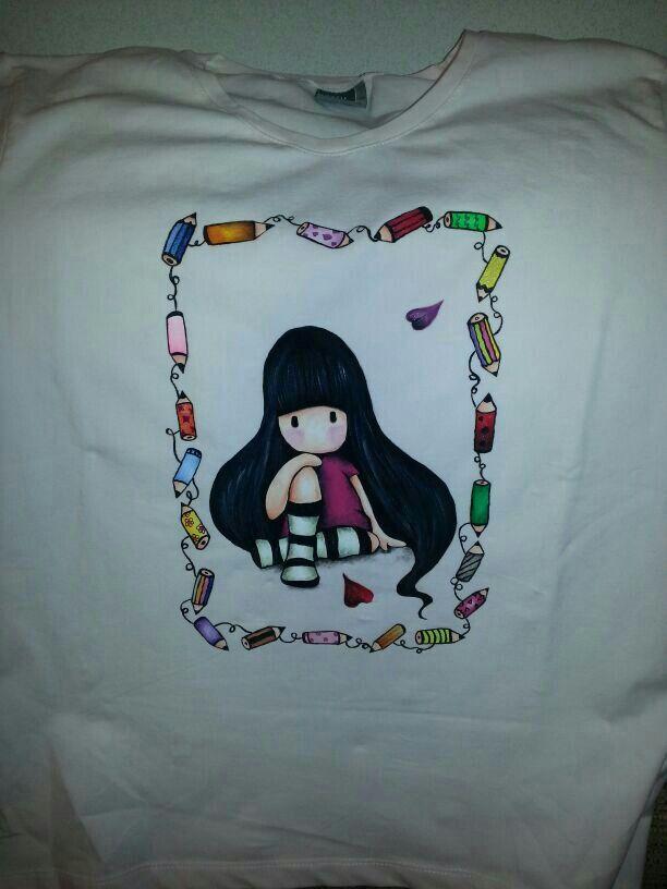 Camiseta pintada a mano con pinturas para tela mis - Pintura para camisetas ...