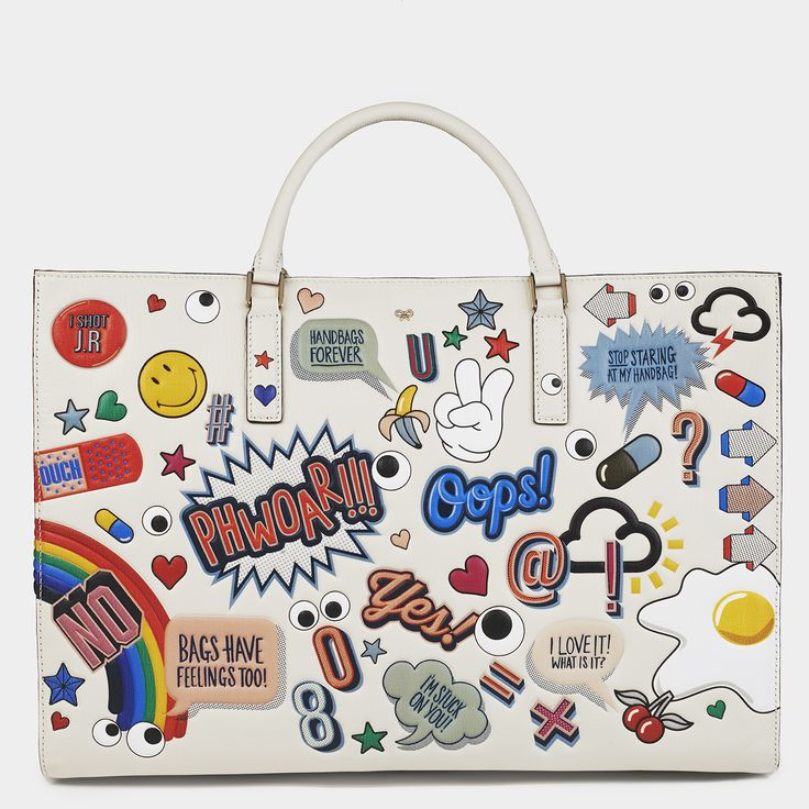 Maxi Featherweight Ebury with bold embossed graphics for Spring Summer 2015. anya hindmarch