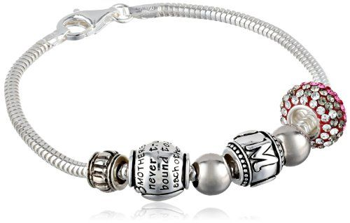 CHARMED BEADS Sterling Silver Mother Daughter Bead Charm Bracelet, 7.5""