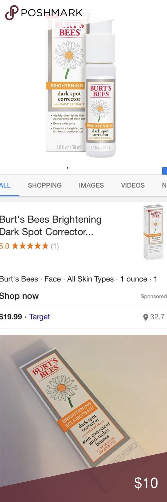 NEW! Burts Bees Dark Spot Corrector 💚BUNDLE ITEM NEW in box ~ Full size 1.0 fl oz ~ Burt's Bees BRIGHTENING Dark Spot Corrector with daisy extract ~ Visibly diminishes appearance of dark spots; evens skin tone; and creates a brighter, more luminous complexion  *BUNDLE ITEMS💚 : Items marked with a green heart (like this one) are priced especially low & therefore MUST be bundled w/ at least 1 other item in my closet! Select anything as long as item(s) in bundle total at least $15. All…