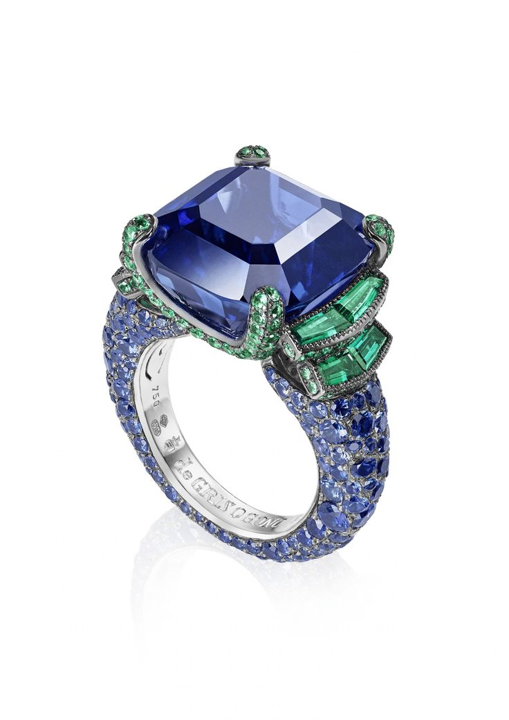 de Grisogono High Jewellery Ring - White Gold, Blue Sapphires, Emeralds