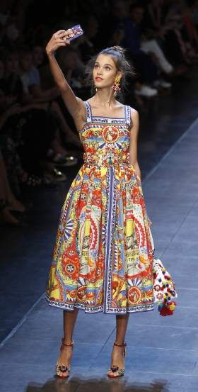 Dolce&Gabbana women's Spring-Summer 2016 collection, part of the Milan Fashion Week, unveiled in Milan, Italy, Sunday, Sept. 27, 2015.