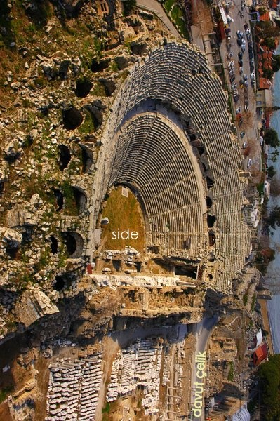 Ancient amphitheater, Side, Antalya -Turkey, photo: Davut Çelik