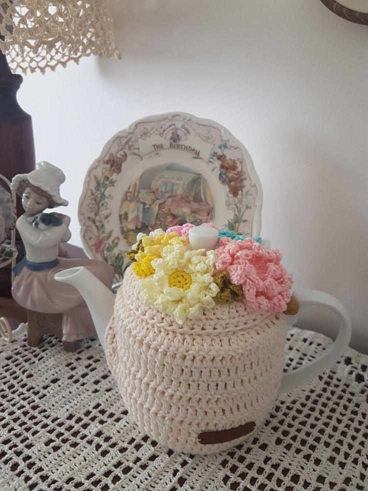 The flower crochet tea cozy