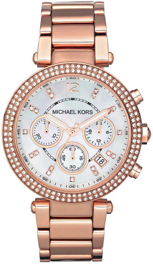 f43103b771b2b Michael Kors Women s Chronograph Parker Rose Gold-Tone Stainless Steel  Bracelet Watch 39mm MK5491 rose. Relógios ...