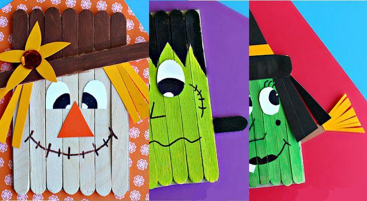 3 bricolages d'Halloween en bâtons de popsicles!