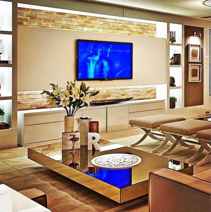 Sala De Tv Com Home ~ Sala de TV com parede de tijolinhos #homedecor #living #tvlounge