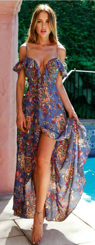 Bohemian V Neck Ruffle High Slit Irregular Maxi Dress