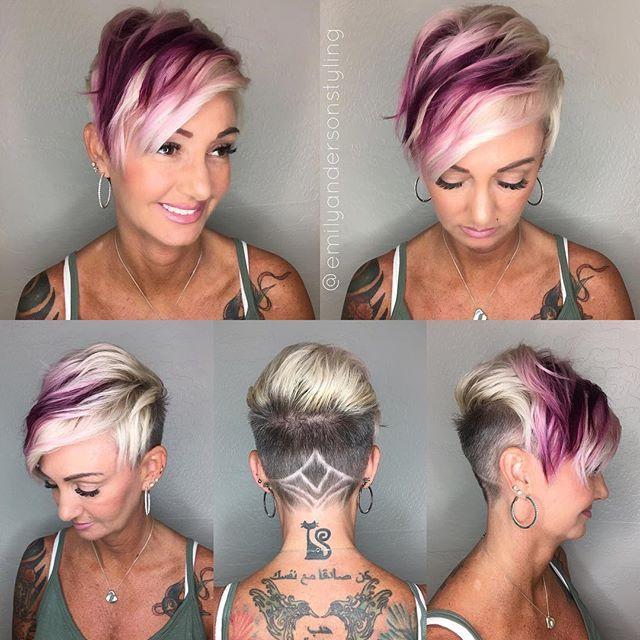 WEBSTA @ emilyandersonstyling - Magenta is @schwarzkopfusa #platinum with a splash of fun. #buzzcutfeed #hairetching…