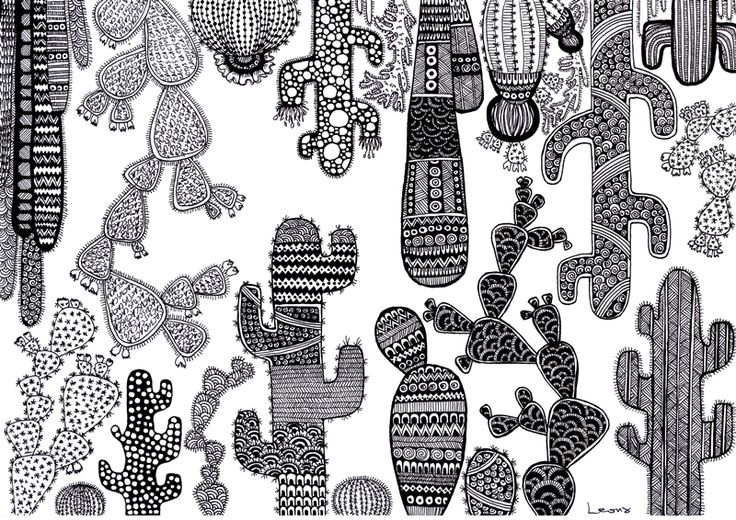 Doodle Zentangle Cactus Art