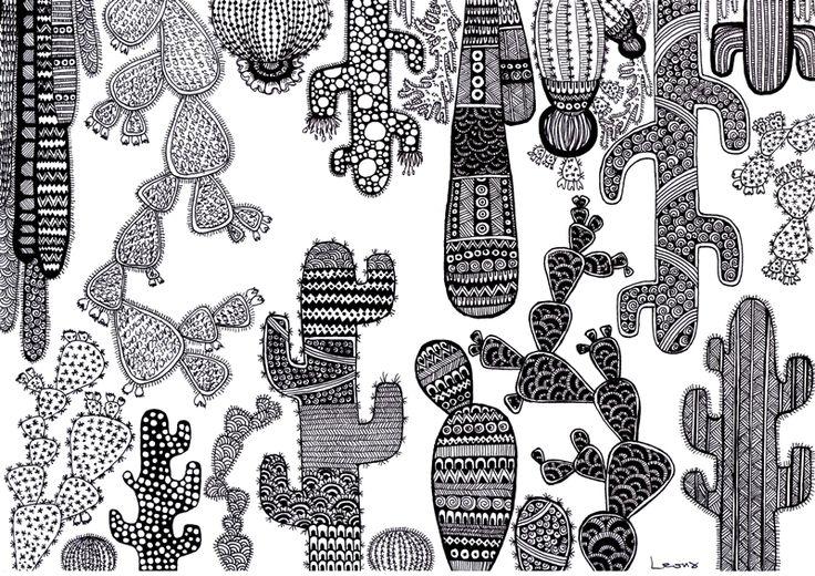 Doodle Zentangle Cactus Art