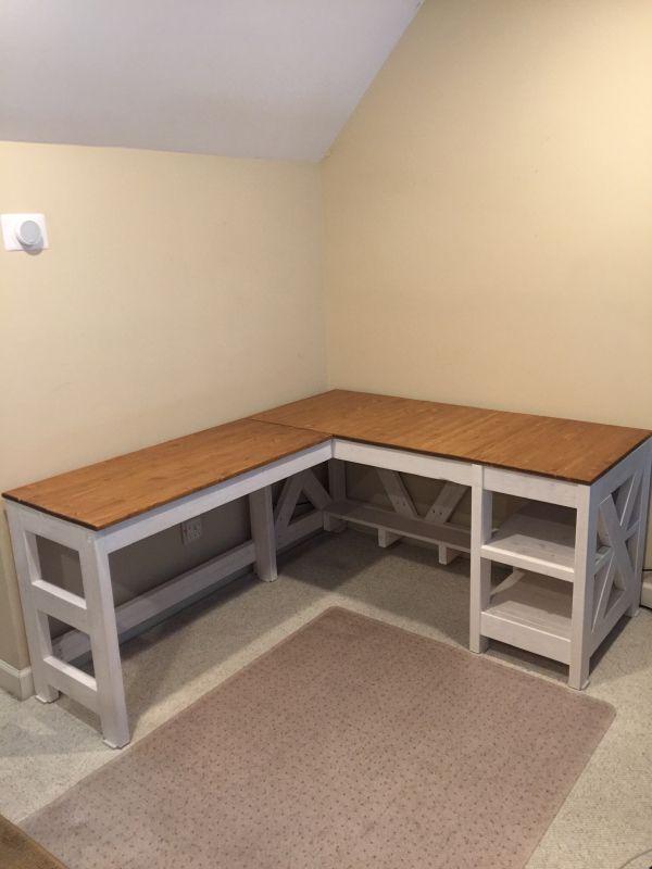 Farmhouse X Office Desk   Free Plans - Handmade Haven