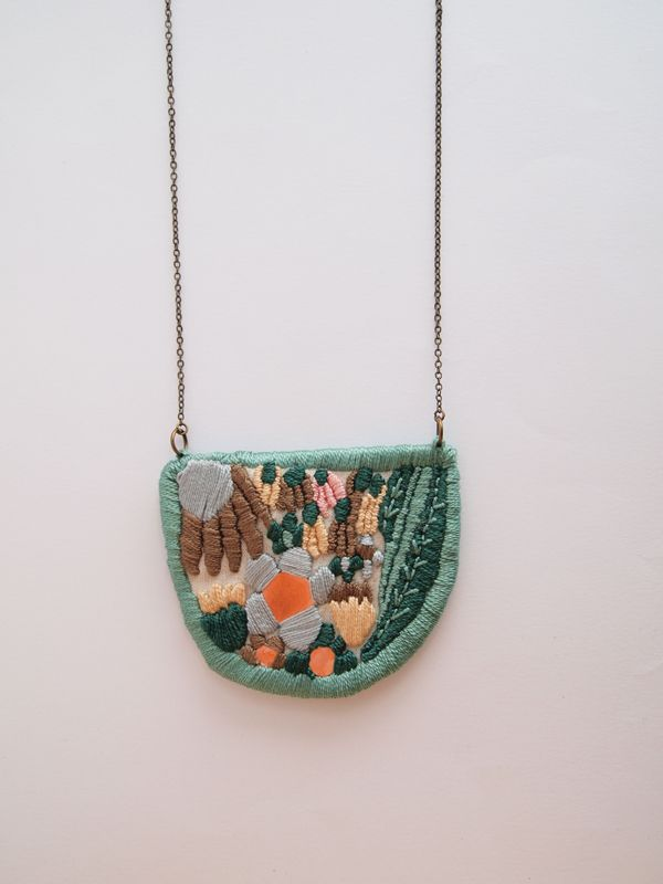 embroidered pendant. LanaPelana Jewelry