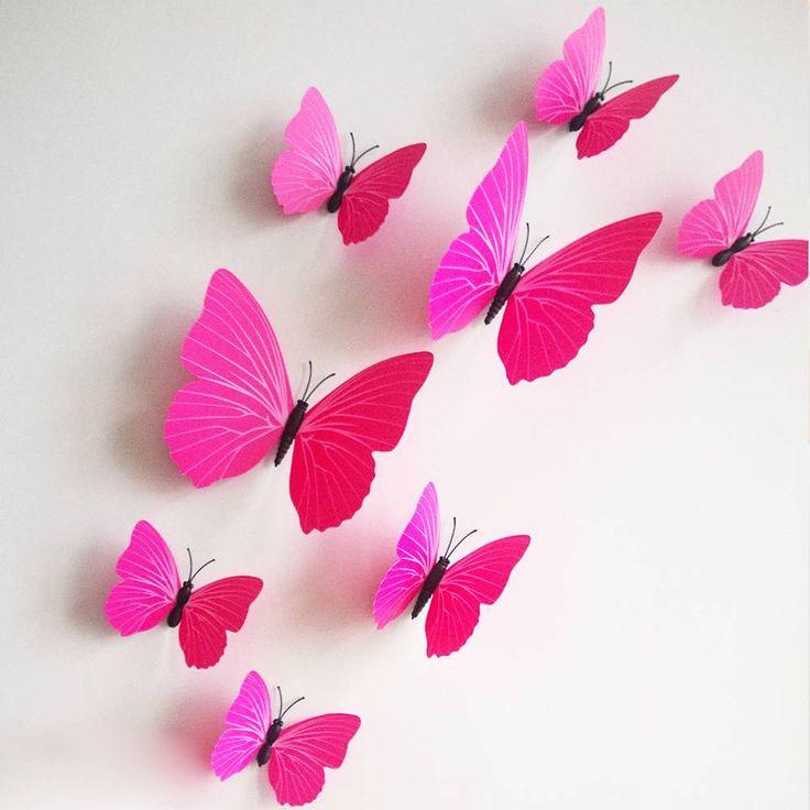 3D vlinder pink | Muursticker4sale.nl -