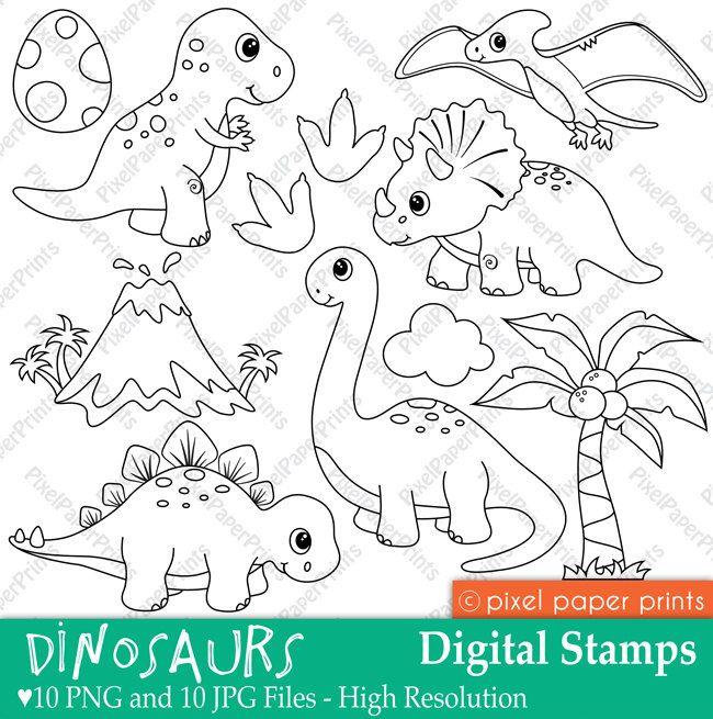 Dinosaurs Digital stamps por pixelpaperprints en Etsy