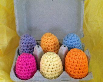 Asortate solid colorat croșetat ouă pentru Paște sau alimentar Joacă