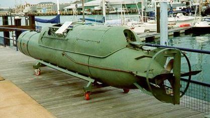 Italian Maiale manned torpedo displayed at the Royal Navy Submarine Museum, Gosport, UK.