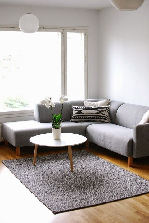 DecoDreamer's Diary: Gray sofa, white coffee table, gray decoration, Scandinavian, living room