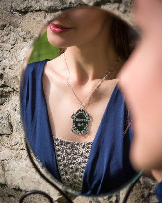 Marry me MYSTEERI Magic Mirror pendant. Engagement and wedding gift idea.  Made in Finland by KiviMeri.