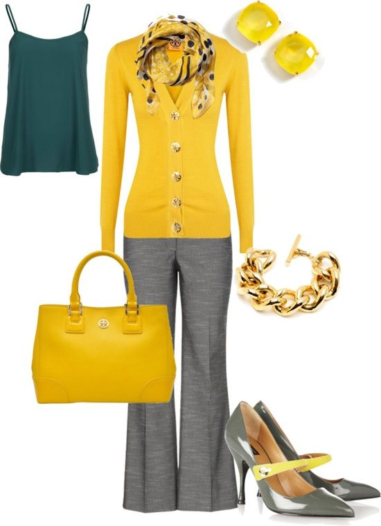 Yellow Gold Gray Teal Outfit