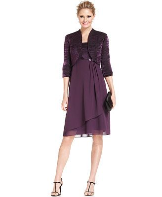 Le Bos Textured Chiffon Faux-Wrap Dress and Jacket