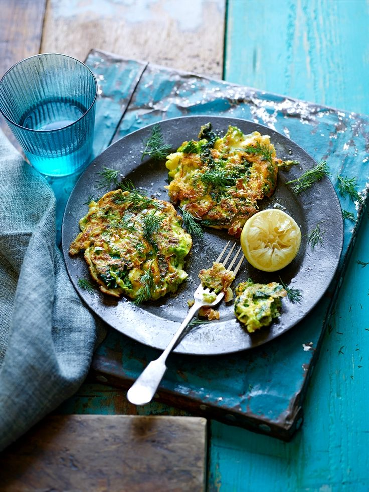 """Green veggie fritters """"This recipe works with all sorts of greens, and any cheese left on your cheeseboard. A soft variety, such as brie or reblochon, works particularly well. """""""