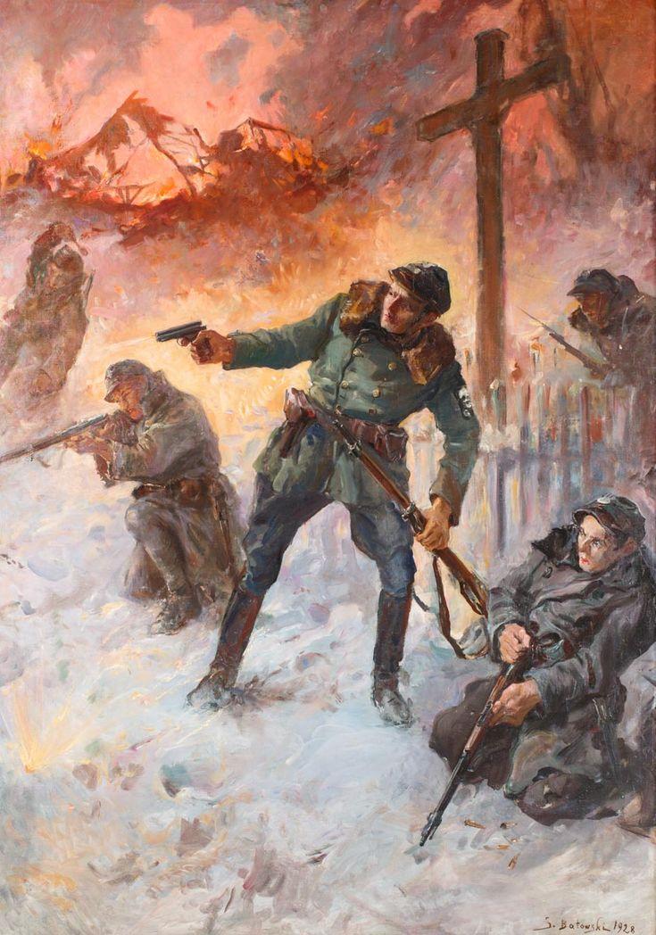 STANISŁAW KACZOR-BATOWSKI (1866 - 1946)  OBRONA LWOWA W 1918 ROKU, 1928   olej, płótno; / 176x125 cm;