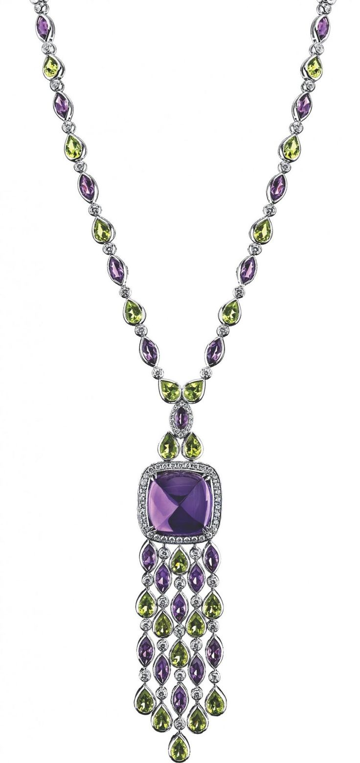 """Brooke Shields has added a new title to actress, model and author: jewelry designer. She along with gem-expert and high jewelry designer Robert Procop have partnered on a new high jewelry collection called """"Legacy Brooke."""" • AMETHYST and PERIDOT NECKLACE."""