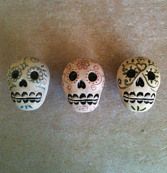 Día de los Muertos skull furniture knobs Day of by artcrafthome, $27.00