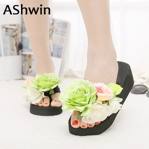 AShwin handmade flower slippers women slippers beach shoes wedge platform  slipper cheap shoes woman bohemia hawaiian e2252573522d