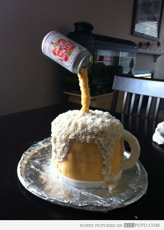 Amazing Cake Looking Like Beer Pouring From A Can Into